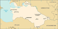 Map of  Turkmenistan - CIA World Fact Book